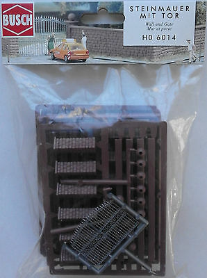 BUSCH 6014 Wall & Gate 00/HO Model Railway Plastic Kit