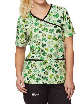 Women's Medical Scrub Top Mock St. Patrick Print (Medium)