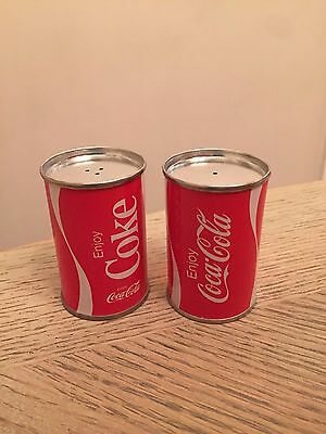Vintage Coca Cola can metal salt and pepper shakers NOS