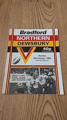 Bradford Northern v Dewsbury Oct 1985 Rugby League Programme