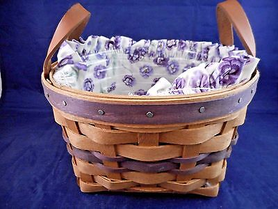 1992 Longaberger May Series Pansy Basket  w/ Ruffled Pansy Liner & Protector