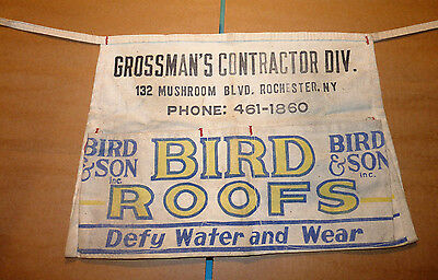 Vintage Grossman's Contractor Div. BIRD ROOFS, Rochester, N.Y. Advertising Apron
