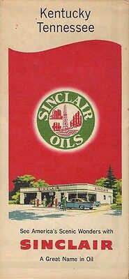 1957 SINCLAIR OIL Road Map KENTUCKY TENNESSEE Nashville Memphis Owensboro
