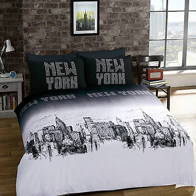 03PCS Duvet Quilt Cover with Pillow Cases Bedding Set Size Super King NEWYORK
