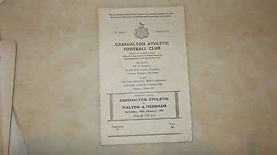 Carshalton Athletic  V Walton & Hersham ( Saturday 14Th January 1961 )