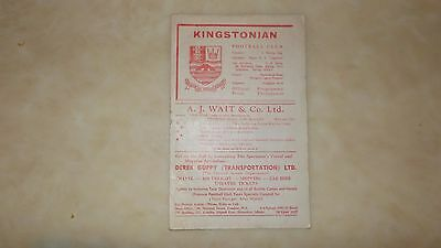 Kingstonian  V Walton & Hersham ( Wednesday 8Th November 1961 )