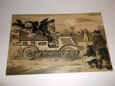Tuck Art Postcard Of Dressed Cats Driving A Vintage Car Along The Road - 939