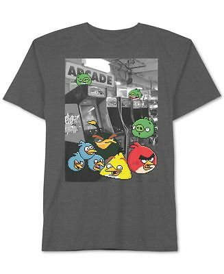 ANGRY BIRDS $16 NEW 0714 Gray Short Sleeve Printed Tee Boys Top 6