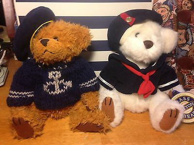Brass Buttons Pair Sailor Bears Taylor Hats Collectoble