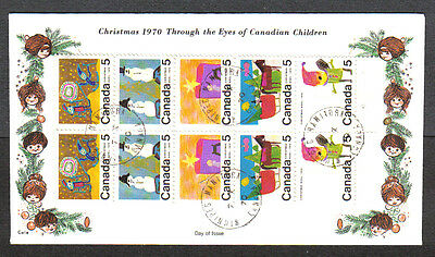 Canada Fdc 1970 Tagged Christmas 5C #519 #520 #521 #522 #523 Cole Cachet Wnpg
