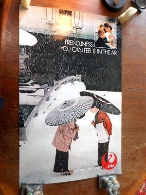 C 1970S Original Tourist Travel Poster Japan Airlines Jal Japan Snow Greetings