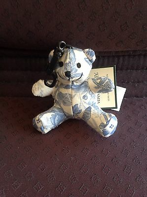 Vera Bradley Retired Rare Blue Toile Bitty Bear, Cute! With Tags