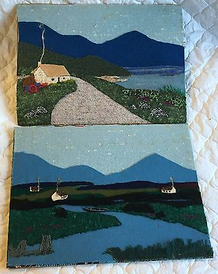 2 Irish Countryside Applique Pictures made from Irish Tweed ready for framing72a