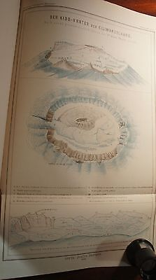 """2 Maps - """"Messages from Justus Perthes"""" -- 1890 --  Mt. Kilimanjaro and Komoren"""