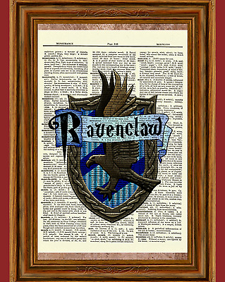 Ravenclaw Harry Potter Dictionary Art Print Book Picture Poster House Crest