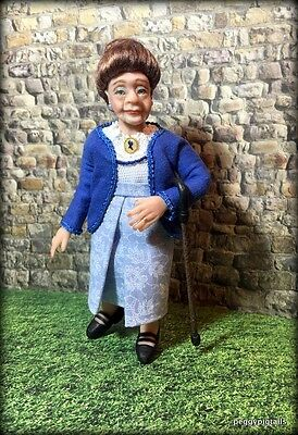 Ooak  12Th Scale  Miniature Dollhouse Glam Gran Character Doll