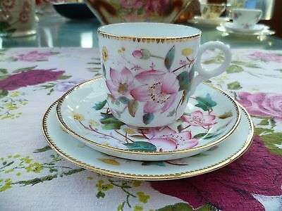 Vintage / Antique English Porcelain China Trio Tea Cup  Blossom Ivy Buttefly