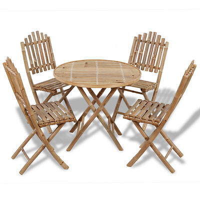 Outdoor Garden Furniture Foldable Dining Bamboo Wooden Table And 4 Chairs Set