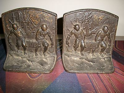 Antique Cast Iron PIRATES Bookend Treasure Chest Ship