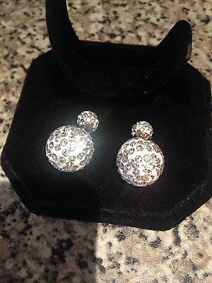 Stunning 925 Sterling Silver Inlay White Double Crystal Ball Stud Earrings