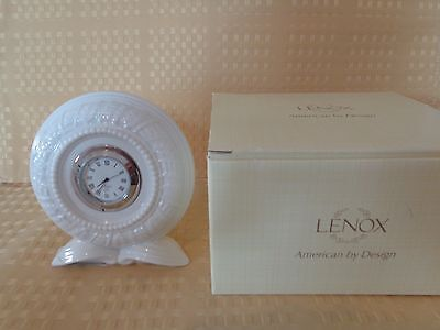 "Lenox Timely Traditions White Round Clock 4.3"" NIB #823806 BEAUTIFUL GIFT NEW"
