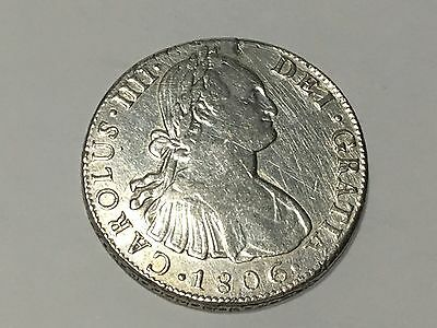 1806 Mo TH Mexico 8 REALES  Coin Silver Spanish Colonial XF KM #109.