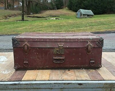 Antique Vtg Steamer Travel Trunk Chest Luggage Suitcase Carry On W/key Steampunk