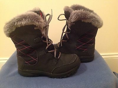 girls columbia snow boots gray faux für in excellent condition