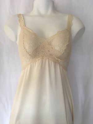 Vintage Ivory SHEER Stretch Lace Satin Gown Nightie Nightgown Slip