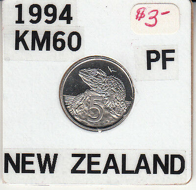 New Zealand 5 cents 1994 (KM# 60) PROOF