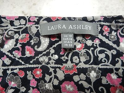 LAURA ASHLEY black/pink/grey floral long sleeve jersey dress size 10