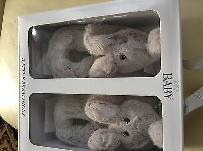 Bnwt M&s Rattle Baby Pram Shoes Size 3-6 Months Boxed