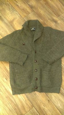 Vtg MENS sz m  WILLIS AND GEIGER OUTFITTERS LARGE WOOL SWEATER CARDIGAN green