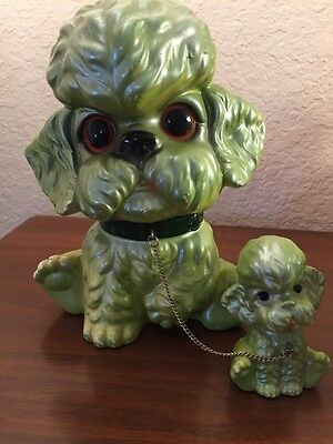 Vintage Dog Figurines on Chain Mama Dog with 1 Pup