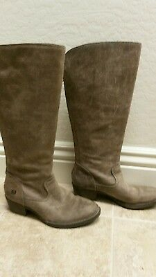 Womens Born Taupe Leather Tall Riding Boot W22539 SZ 8