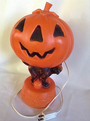 Vtg Blowmold Jack O Lantern Pumpkin Tabletop Light With Black Cat And Skeletons