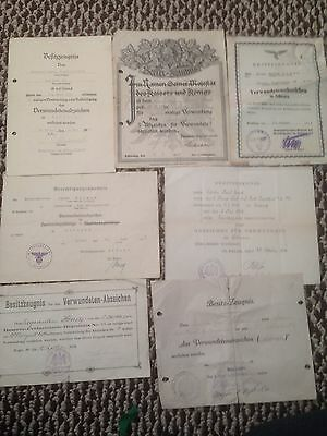 Huge Lot WWI WWII German Wound Badge Certificates And Photo