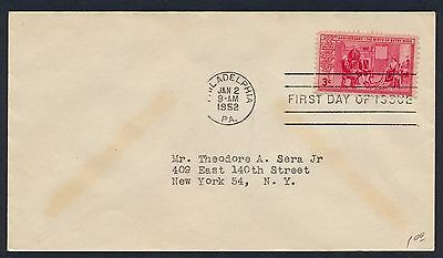 UNITED STATES OF AMERICA 1952 FIRST DAY COVER USA FDC #a238 PHILADELPHIA CANCEL