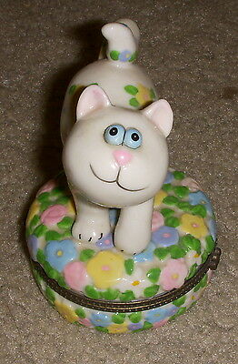 Whimsical Cat Hinged Trinket Box Collectible Kids