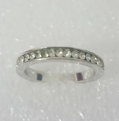 Beautiful Full Eternity style 925 sterling silver ring! Diamond Ring! Size N.