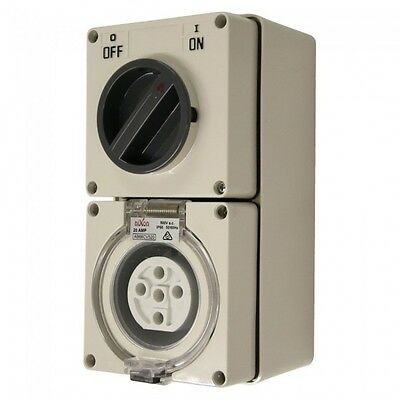 5 Pin 20 Amp Industrial weatherproof combination switch socket 3 Phase SAA