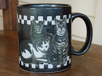 VTG EUC Otagiri Cats Mug Black & White Checks Tabbies Tuxedo