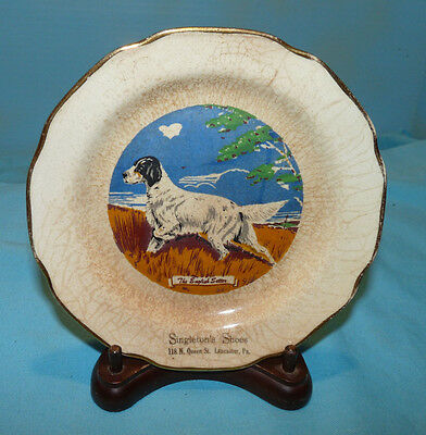 English Setter Dog Porcelain Advertising Plate, Warranted 22 K. Singleton Shoes