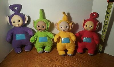 Lot 4 Vintage Teletubbies Laa-Laa Po Tinky Winky Dipsy Soft Plush Doll 11 inch