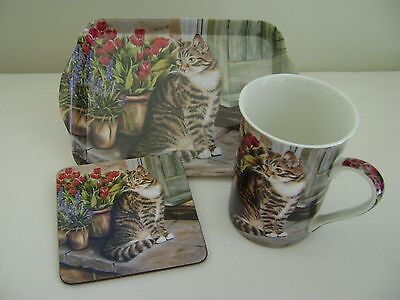 Cat Lovers China Mug With Tray & Coaster - Creative Tops - New