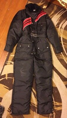 Vintage JC Penney Snowmobile Fur Apparel Ski Snow Suit Black Red Womens M 12-14