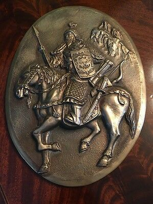 "Antique Vintage Bronze Plated Cast Iron ""Medieval"" Knight on Horse"
