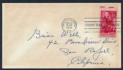 UNITED STATES OF AMERICA 1956 FIRST DAY COVER USA FDC #a271 PHILADELPHIA CANCEL