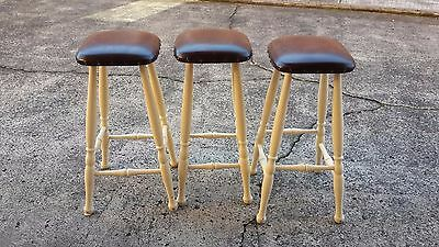 Three solid Timber Bar Stools Kitchen Breakfast Bench Stools Chairs vinyl seat