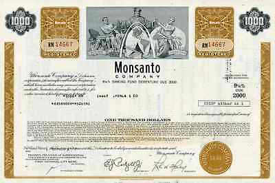 1970 Monsanto Co. Bond Certificate